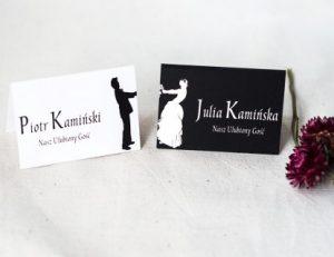czarno białe winietki ślubne