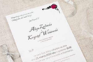 zaproszenie kokardka pudrowy róż